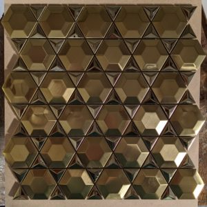 Stainless Gold Prism Hexagon Mosaic 11.22x11.66