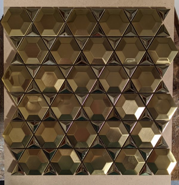 Stainless Gold Prism Hexagon Mosaic
